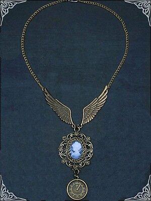 Gothic Steampunk Collier Halskette  Wings of Steam Flügel Uhr Kamee Schmuck Neu