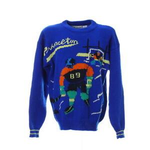 Vintage-Strickpullover-Groesse-M-Princeton-Hockey-Motiv-Retro-Sweater-Blau