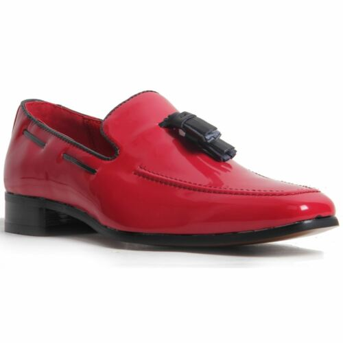 Men/'s Slip On Leather Lined Western Heel Loafers Shoes Faux Patent Red
