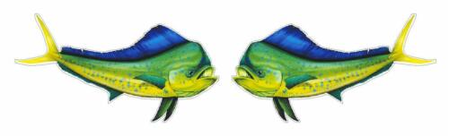 2 MAHI MAHI DOLPHIN FISH SALTWATER FISHING FISHERMAN VINYL DECAL DECALS STICKERS