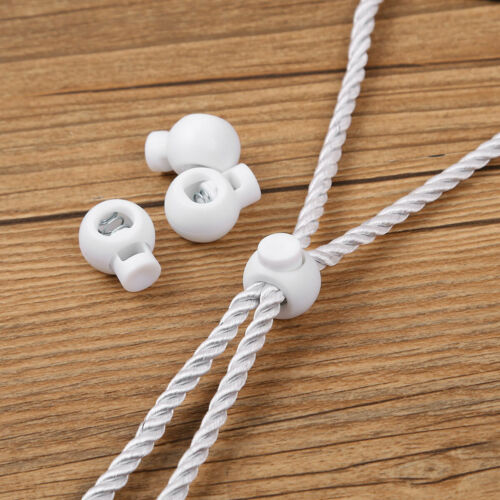 50 Toggle Single Hole Spring Sliding Rope Cord Fastener Lock Clip Ends Stopper