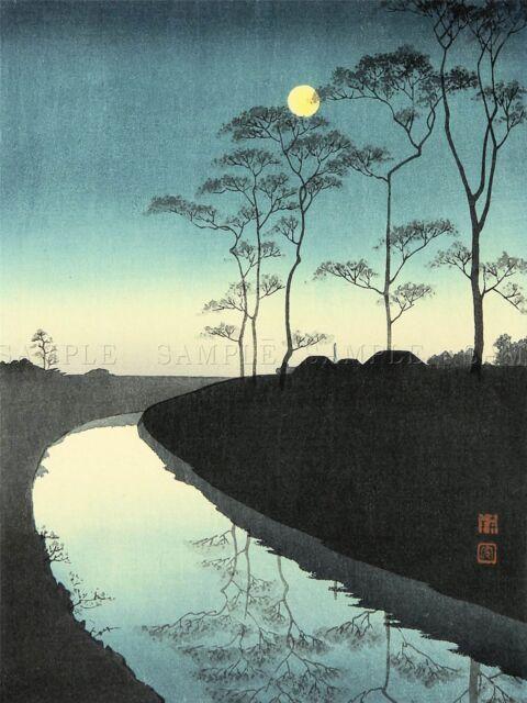 Nature Landscape Abstract Japan Moon Lake Yoshitoshi Canvas Print