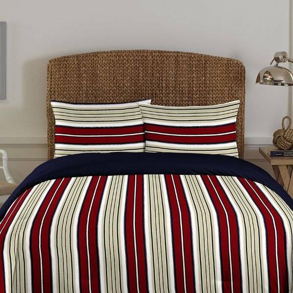 NIP Nautica Westmont Stripe Red Biking Comforter Set 3pcs King