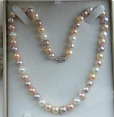 """43cm, 7-8mm Multicolor Akoya Freshwater Pearl Necklace 18"""""""