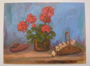 RED GERANIUM STILL LIFE GARDEN FLOWERS FOLK ART ROCKPORT LISTED ARTIST PAINTING