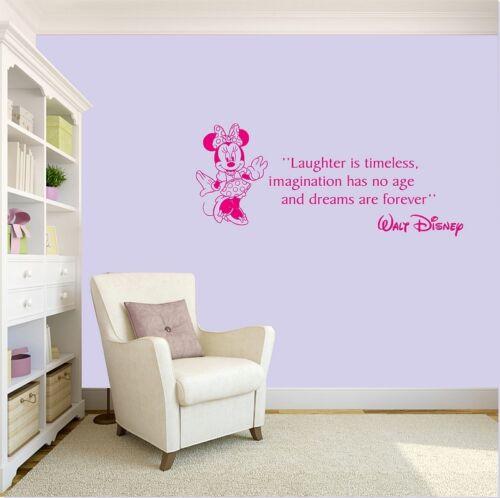 Minnie Mouse Pegatinas de Pared risa es atemporal cotización de Walt Disney Vinilo Arte