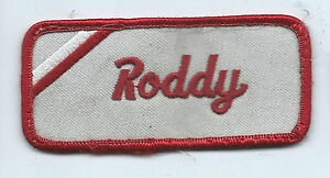 Roddy name tag patch 1-5/8 X 3-5/8