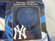 "New York Yankees Blanket Throw 50""X60"" Fleece Royal Plush Raschel NWT"
