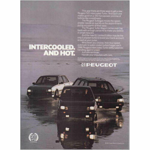 1986 Peugeot Intercooled and Hot Vintage Print Ad