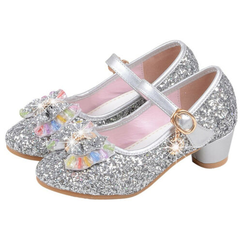 Kids Girls Princess Elsa Anna Sandals Toddler Sequin Glitter Party Cosplay Shoes