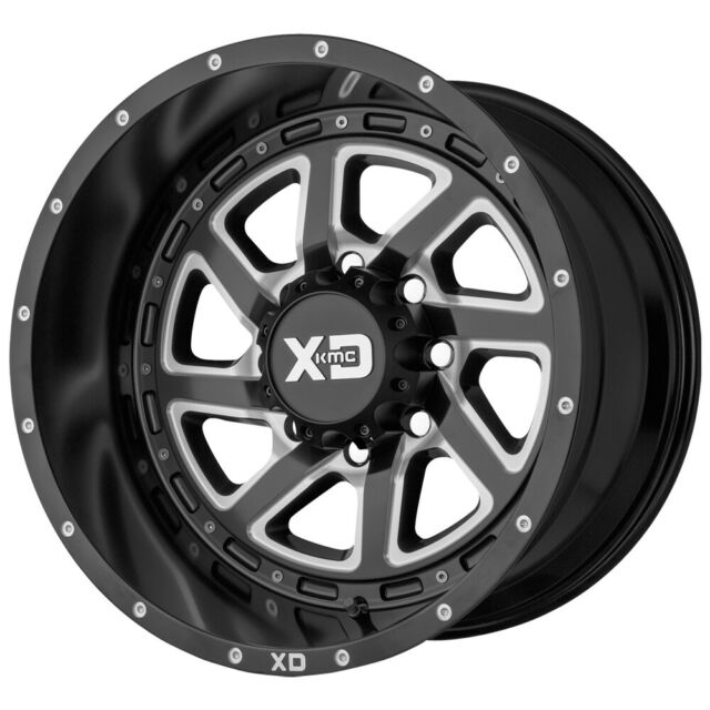 22x8.25 XD815 Batallion Black Milled PRE-19 DODGE DUALLY Wheels 8x6.5 Set of 6