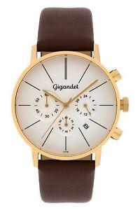 Gigandet Minimalism Herrenuhr Chronograph Datum Edelstahl Gold Braun G32-003