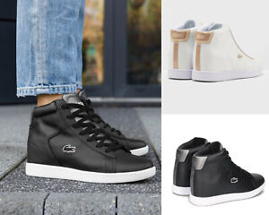 e65f479703f2 Image is loading Women-Wedge-Sneakers-Lacoste-Carnaby-Evo-Wedge-317-
