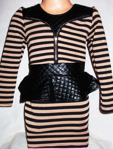 GIRLS BEIGE /& BLACK STRIPE PVC QUILT ZIP TRIM CLASSIC PEPLUM FORMAL PARTY DRESS