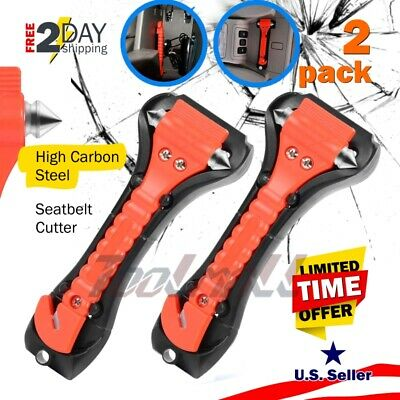 2 Pack Car Safety Escape Glass Window Breaker Emergency Hammer Seat Belt Cutter