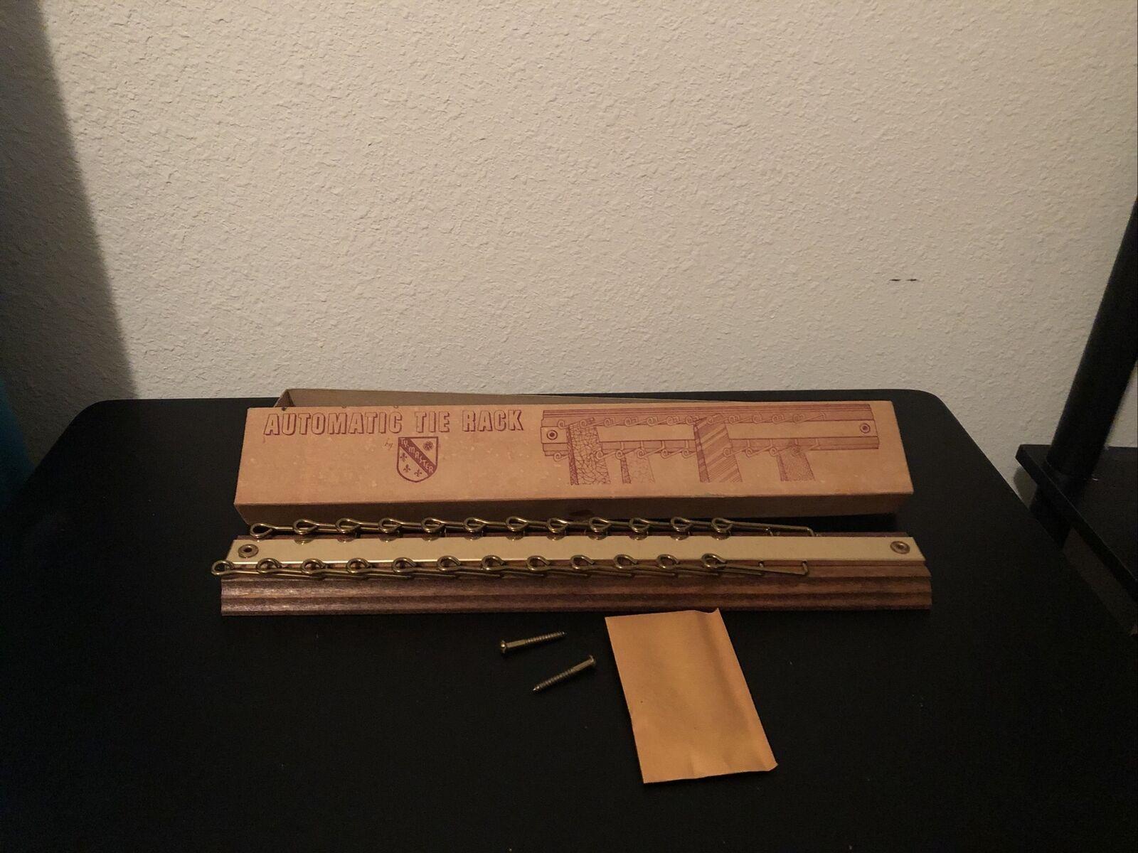 Vintage Mens Automatic tie rack Ty-Master Wood Metal Foldable Never Used