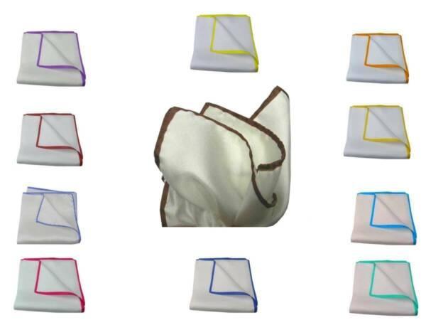 100% Verdadero Pochette Da Taschino Uomo Seta Bianca Con Bordi In Contrasto Fazzoletto Bianco Brillo Brillante