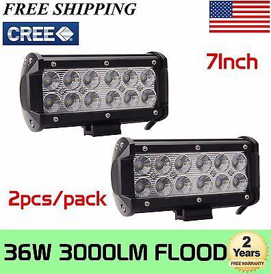 2x 7INCH 36W CREE LED WORK LIGHT BAR FLOOD OFFROAD 4WD BOAT ATV FOG DRIVING HOT