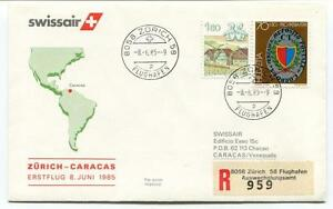 éNergique Ffc 1985 Swissair First Flight Zurich Caracas Venezuela Registered Flughafen