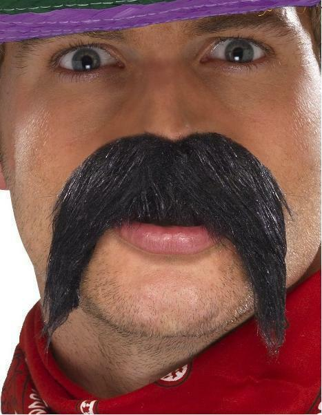 Mexican Fancy Dress Big n Bushy Tash Bandit Gringo Moustache Tache Black Smiffys