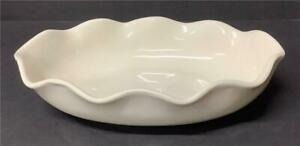 """Vintage Abingdon Pottery Ruffled Serving Bowl/Console dish Creamy White 11""""x7""""+"""