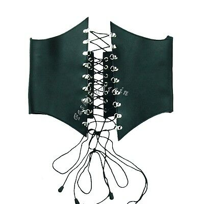 Real Leather Sexy Women Cupless Lace-Up Corset Belt Waist Cincher Adjustable