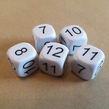 16mm Number Dice 7,8,9,10,11,12 (pack of 5) NEW UK SELLER (D124)