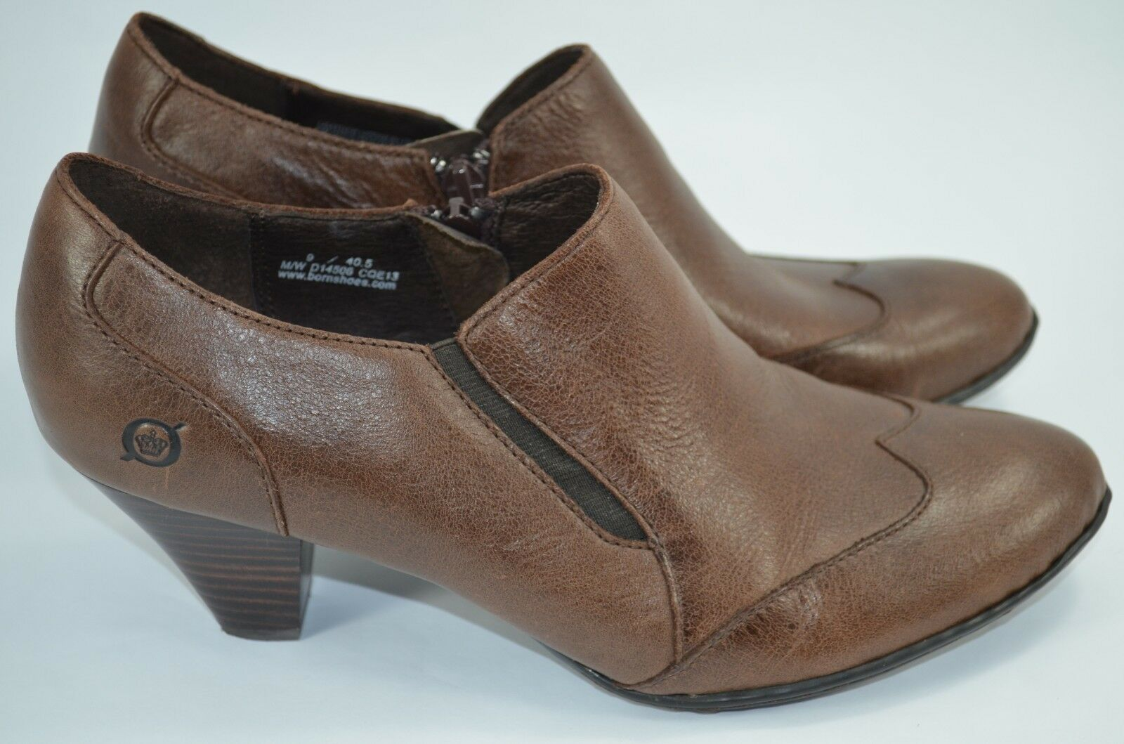 Born Womens Wing Tip Side Zip Brown Heels Chelsea Ankle Booties D14506 Size US 9