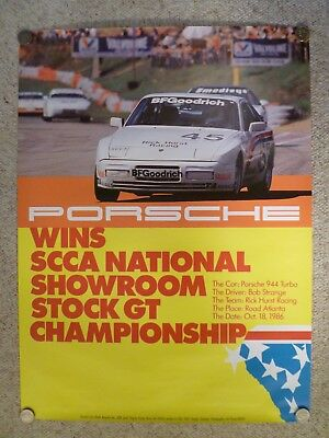 1987 Porsche 944 Coupe Showroom Advertising Sales Poster RARE! Awesome L@@K