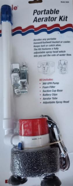 Bait Tank Kit Rule Portable Aerator Kit 360 GPH Pump Make Your Own Bait Tank