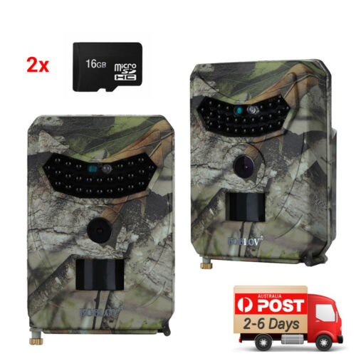 2X 12MP Trail Camera Hunting IR Outdoor Wildlife Scouting Cam Night Vision +16GB