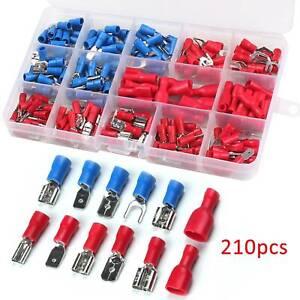 210X-Conectores-Cable-Electrico-Spade-Aislante-Crimp-Terminales-Surtido-Set