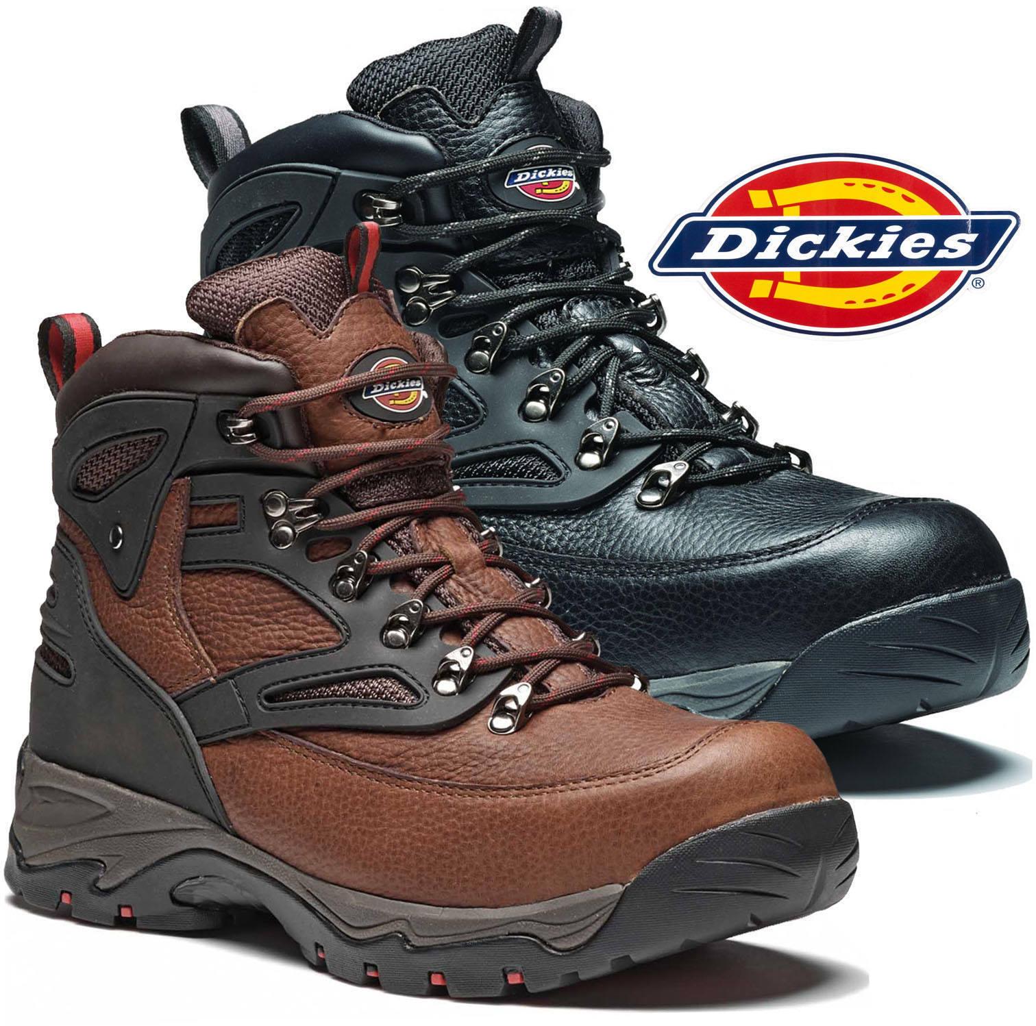 Dickies Preston botas de Trabajo Cuero Puntera Acero Bota Alpinista Negro Marrón