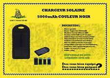 Chargeur solaire 5000 mAh étanche randonnée, camping, survie etc