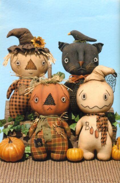 Primitive Pattern Stumpkins Scarecrow ,Pumpkin,Ghost ,and cat Sooo Cute Look !!