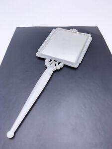 Vintage Victorian Plastic Vanity Handheld Mirror White