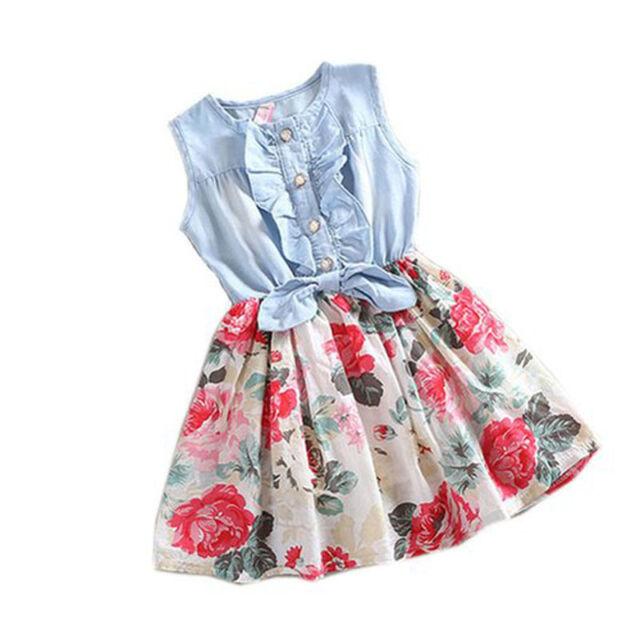 Baby Girl Tutu Jeanskleid Kurzärmelig Spitze Prinzessinnen Party Röcke Hoc