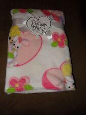 "Precious Moments Girl With Bunny Plush Fleece Baby Blanket-30""X40""-New"
