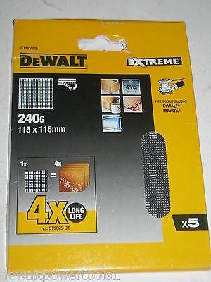 dewalt elu stickon mesh sanding sheets 1/4qt 115mm x 115mm 240g x5 d26441 b04556