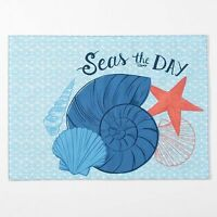 Celebrate Summer seas The Day Blue Ocean Shells Seashells Shell Print Placemat