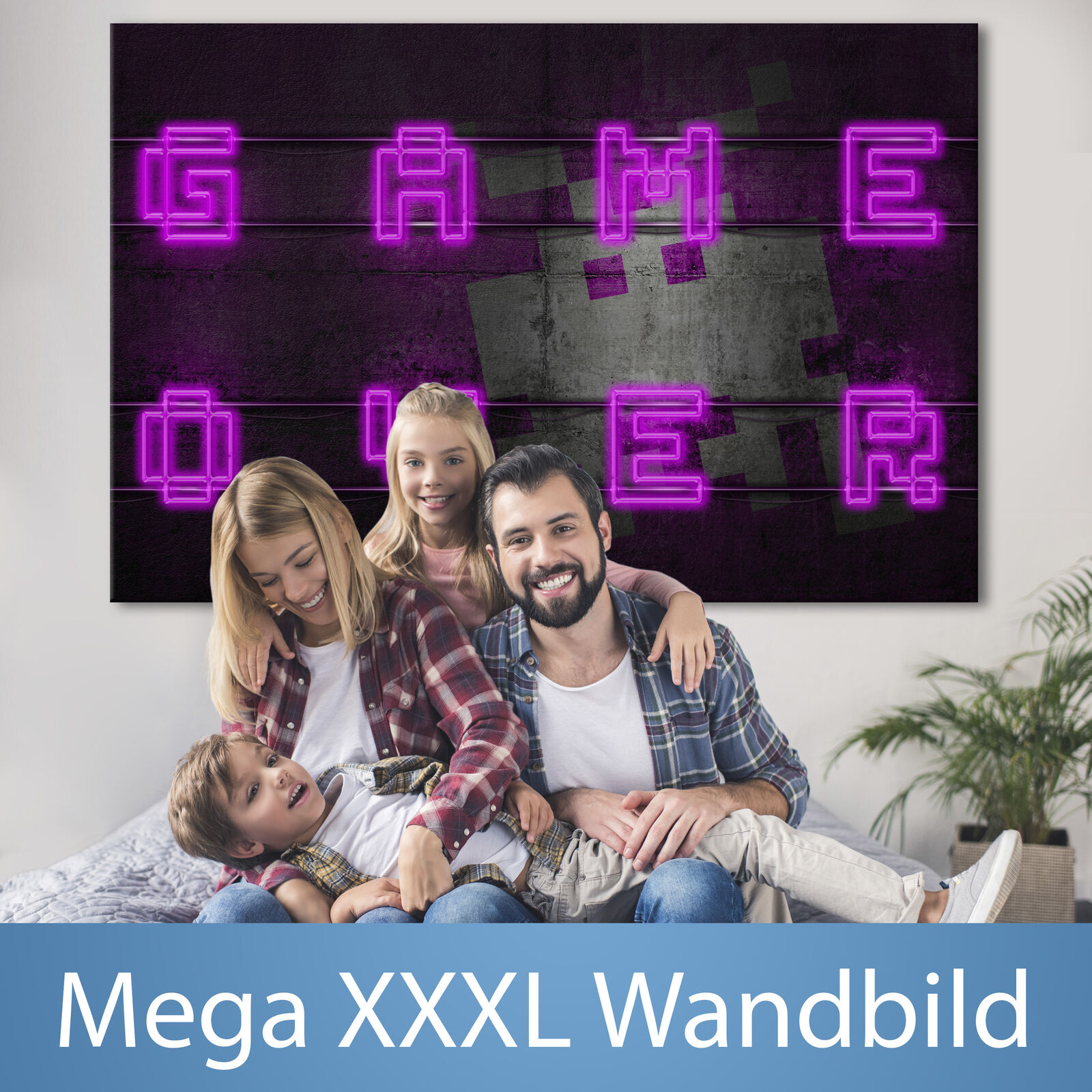 Spiel OVER XXXL Wandbild Riesenformat Leinwandbild DIY Canvas Bild i-A-0152-ak-a