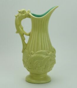 Vintage-1935-Red-Wing-Pottery-Serpent-Ewer-Pitcher-Vase-220-Custard-W-Turquoise
