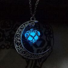 Women Hollow Out Glow In Dark Moon Heart Drop Necklace Pendant Luminous Jewlery