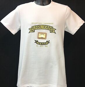 Karl-Kani-Designer-Trademark-Embroidered-T-Shirt-White-Signature-Gold-Hot