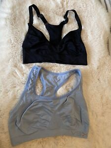 Set of 2 Victoria Secret PINK Sports Bra Yellow Red Ultimate Solid Bralette Lot
