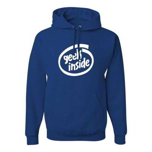 Geek Inside Funny Intel Computer Logo Nerdy LOL IT Tech Pullover Hoodies