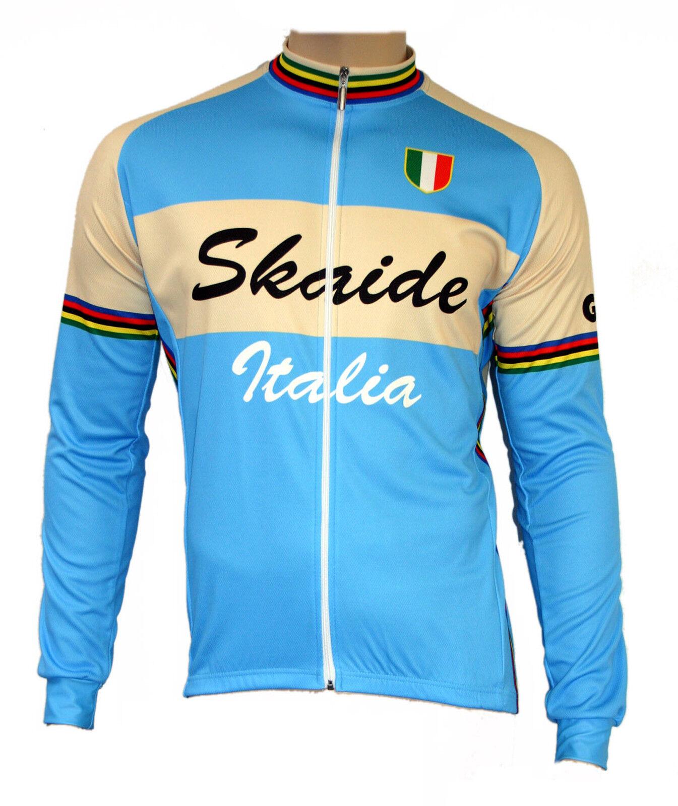 CYCLING CYCLING CYCLING skaide ITALIA RETRO AZZURRO crema manica lunga (anche taglie forti fino a 6xl) 401379