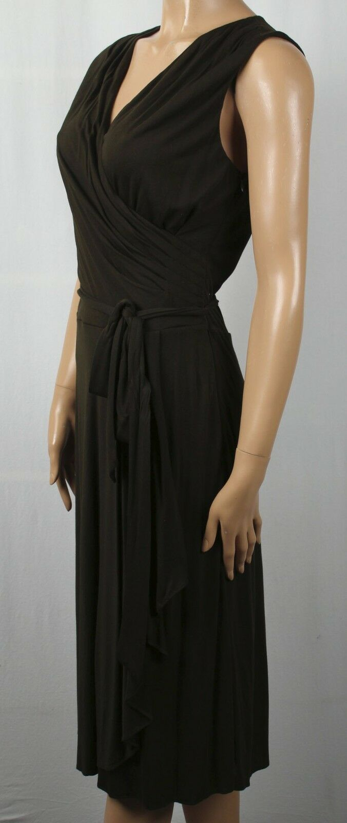 Ralph Lauren Knee Length Sleeveless Brown Pleated Wrap Ruffle Dress NWT
