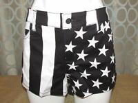 Juniors Women Teens Royal Bones Black & White Split Leg Stripes & Stars 13 L
