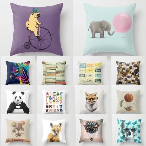 Cushion Pillow Cover Animal Fox Puppy Elephant Monkey Vintage Books 18/'*18/' Home